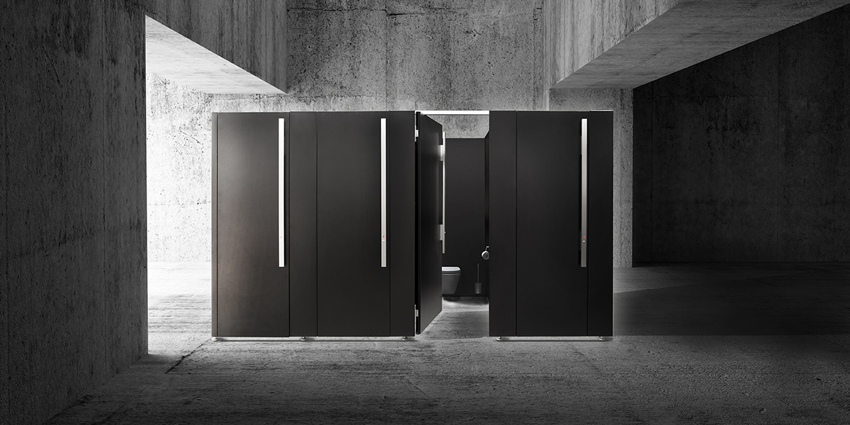 WC-Trennwandsystem classiccell black edition aus Metall